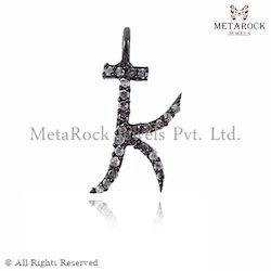 K Initial Charm Diamond Pendant