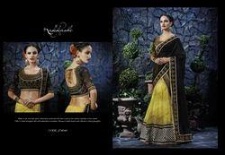 Black And Yellow Georgette Net Lehenga Style Saree