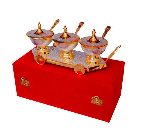 Silver Gifts For Indian Wedding: Silver And Gold Plated Brass Item