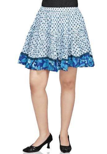 Off White and Blue Crushed Cotton Readymade Skirt