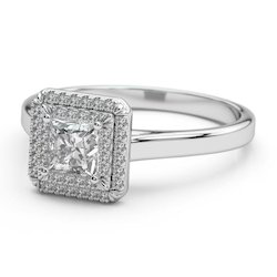 Certified Princess Cut Diamond Engagement Ring in 14k Gold