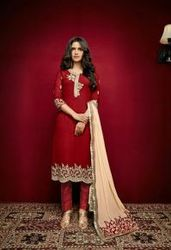 Red Georgette Exclusive Embroidery Work Suit