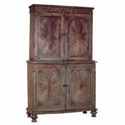 Teakwood Painted Sunburst Cabinet