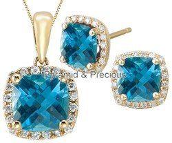 Sky Blue Quartz Silver Necklace Set