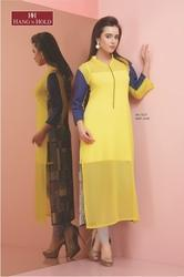 Printed Georgette GK-1527 Ladies Yellow Kurti, Wash Care: Machine