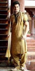 Cotton Plain Designer Pathani Suit, Machine