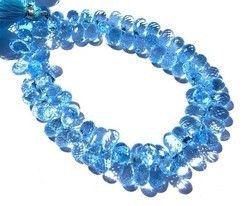 Blue Topaz Quartz Faceted Teardrop Briolettes