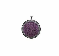 Round Pave Gem Stone Pendant