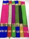 Soft Cotton And Silk Border Saree, Length: 6.3 M