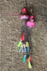 Neon Tassel Pom Pom Earrings