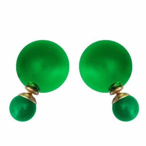 a660fe4a2 Taj Pearl Gold Tone Green Beads Stylish Stud Earrings at Rs 299 ...