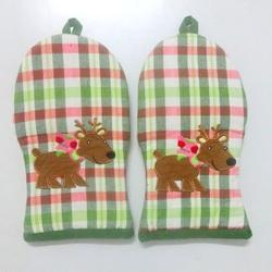 Checked Applique Embroidery Hand Glove