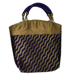 Hand Handled BROCADE Navy Blue And Gold Ladies Handbag, Size: 8x10 Inches