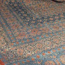 Ajrakh Print Kantha Work Bed Cover