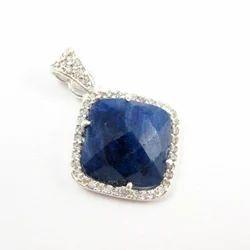 Blue Sapphire Pave Set Silver Pendant