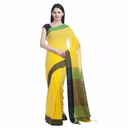 23812f0c5015a0 Khadi Cotton Yellow Saree, Length: 6 M, Rs 1800 /piece, Fibre World ...