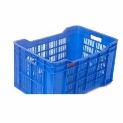 Blue Rectangular Plastic Vegetable Crate, Capacity: 44 Litres
