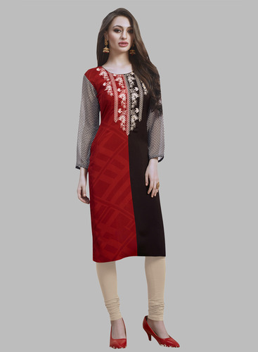 Casual Wear Georgette Long Kurtis, Dry clean