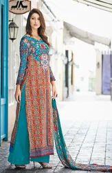 Blue and Red Unstitched Glaze Cotton Salwar Kameez