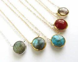 Gemstone Bezel Set Gold Edge Round Necklace