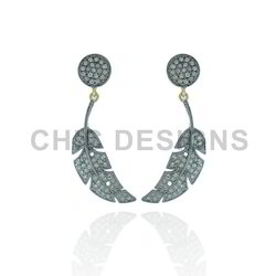 Pave Diamond Leaf Earrings