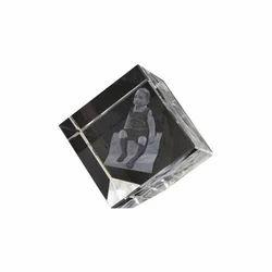Transparent Aadya 3d Crystal Paper Weight 4x4x4 Cm Crystal Edge Cut Cube