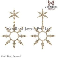 14k Yellow Gold Sun Design Diamond Earring