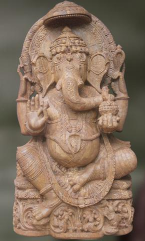 Intricately Carved Stone Sculpture Of Lord Ganesha