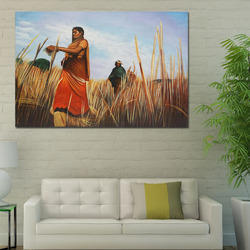 Wooden Framed Village Lady in Wheat Field Handmade Painting