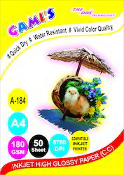 Gami's 180gsm A4 Inkjet Photo Glossy paper