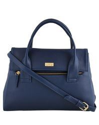 Yelloe_Blue_Synthetic Leather_Hand Bag With Front zipper