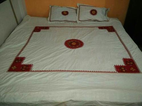 Superior Hand Embroidered Bedsheets With Pillow