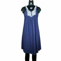 Medium Embroidered Ladies Sleeveless Dress