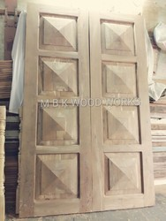 Natural Standard Teak Wood Double Door, Size/Dimension: Width 38 Inches And Height 79 Inches