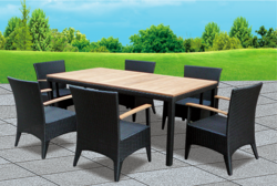 Black Style Outdoor Wicker Dining Table Set