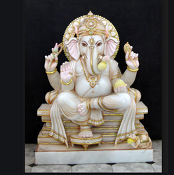 Color Coated Marble Ganesh Statue