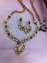 American Diamond Necklace Set with Kundan