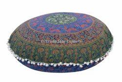 Hippie Floral Mandala Ottoman Pouf Round Cushion Cover