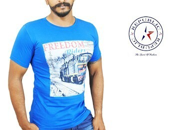 Blue Printed Republic  T Shirts