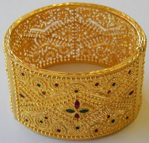 loading bracelet gold flower image thick heavy indian bangle itm solid style bangles s filigree yellow is
