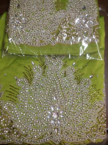 cff1a99287d60b Vip Heavy Beaded First Lady George Fabric - Royal blue heavy beaded VIP  first lady george with blouse Manufacturer from Mumbai