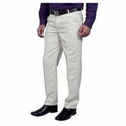 Cotton/Linen White Mens Trousers