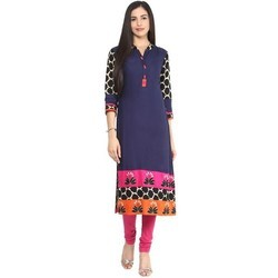 V-Neck M And Medium Blue Embroidered Long Straight Rayon Kurti
