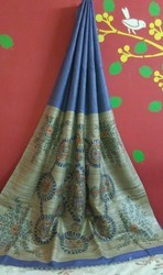Handloom And Hand Painted Tussar Silk Saree