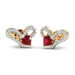 Maroon Stone Gold Diamond Earring