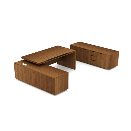 Brown Standard Solid Wood Open Desk, ISIT Office Space