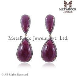 Pave Diamond Ruby Precious Gemstone Earring