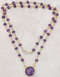 Amethyst Gemstone Rosary Chain Necklace