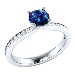 Real Blue Sapphire Diamond Ring