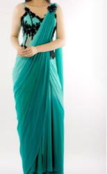 Blue Ombre Sari Gown